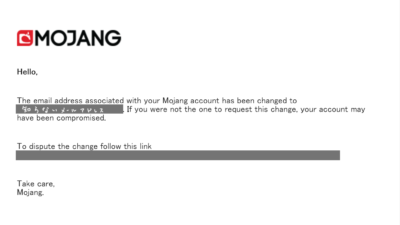 Your Mojang account email was changed